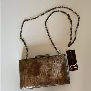 NWT-Sondra Roberts Taupe Coated box clutch w chain
